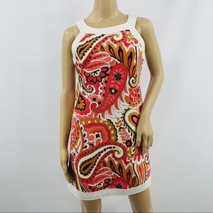 Worth Orange & Pink Paisley Sleeveless Mini Dress